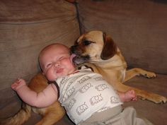 Two of my favorite things... Puppies and babies