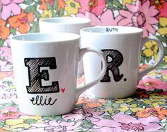 team gifts, craft, gift ideas, bridesmaid mugs, sharpie mugs