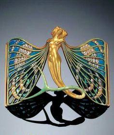 Lalique 1897-98 signed 'Sylphide' dog collar plaque: enamel/ gold/ diamonds