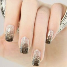 Gorgeous gradient from silver to gold to black!  {Most Elegant Nail Designs for Beginners 2014}