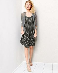 Pair the Eileen Fisher Mesh Cropped Cardigan paired with the Silk Ikat Dot Dress for an effortless summer look.