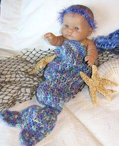 Newborn Photo Prop  MERMAID  Cocoon  Ocean multi by pixieharmony, $26.95