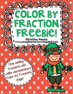 "Here's a leprechaun themed ""color by fraction"" activity page."
