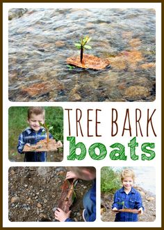 Make a simple tree bark boat!