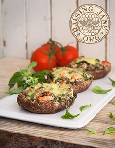 Tomato-Basil Stuffed Portobello Mushrooms: Prep Time: 15 Minutes Cook Time: 40-45 Minutes Makes: 4 Mushrooms