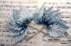 """Ombre blue velvet 3.5"""" millinery leaves"""