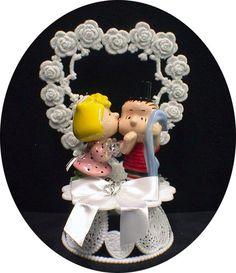 I want this VERY BADLY: Peanut Gang Linus Sally Wedding Cake Topper | eBay
