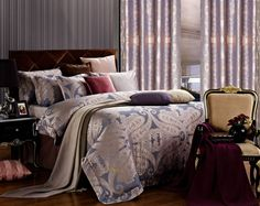 Iris Luxury Bedding Jacquard Paisley Duvet Set by Dolce Mela King DM478K or Queen DM478Q @ www.designedtoinspirebedding.com
