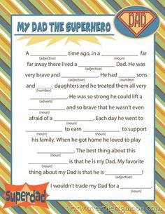 Fathers Day Mad Lib Printable Free! Cute activity idea