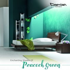 Give a soothing touch and a calming effect to your #bedroom with serene shades of #peacockgreen #coloursofnavratri