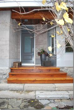 front steps - mixing wood and stone