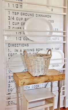 DIY Recipe on Wall behind Plate Rack
