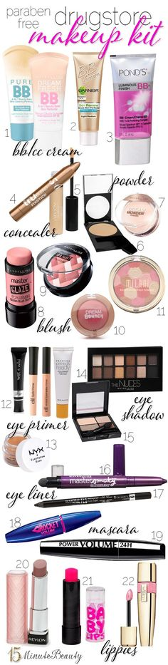 Yes, you really can make a paraben free #makeup kit from the drugstore! Lots of great options!