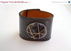 Awesome bracelet!   ON SALE LUX Recycled Leather Amethyst Druzy Gemstone by luxdivine,