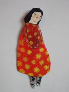 Mixed media plaque Full length figure/doll wall by maidolls
