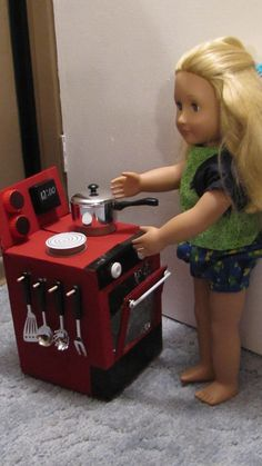 make your own doll stove out of carboard