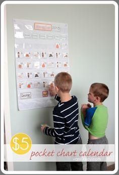 DIY pocket chart calendar for homeschool or just for fun! Make whatever color you want! | VanillaJoy.com