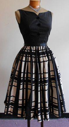 1950's Plaid Skirted Dress. I love plaid!