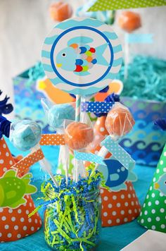 amanda parti, centerpiec, birthday parties, fishi parti, fish parti, fish birthday, 3rd birthday, rainbow fish, parti idea