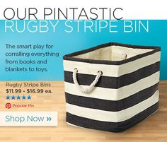 "Check out The Container Store promoting a top Pinned item in their weekly newsletter.   ""Top Pinned - Rugby Stripe Bins - Shop Now »"""