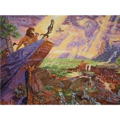 Disney Lion King in Cross Stitch (designed from a Thomas Kinkade painting)