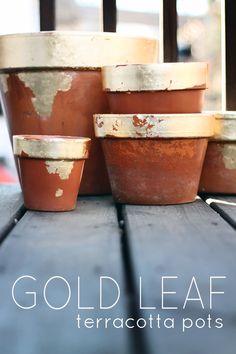 DIY | GOLD LEAF TERRACOTTA POTS (the hunted interior) | DIY 2: http://gardenista.com/posts/gilded-dip-dyed-terra-cotta-planters | DIY 3: http://www.designsponge.com/2012/11/gilded-terra-cotta-pots.html