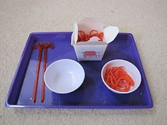 Yarn Lo Mein Transfer - cute for a food theme, around the world or Chinese New Year. (Asia Theme) tot trays, homeschooling, noodles, practical life, chinese new years, fine motor, toddler, yarn, kid
