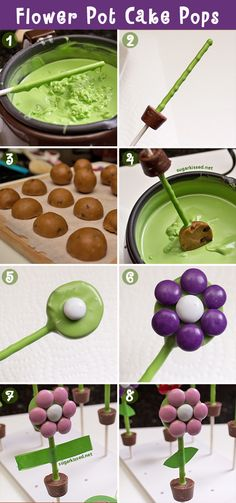 So cute! And the step-by-step instructions make them easy! How To Make Flower Pot Cake Pops
