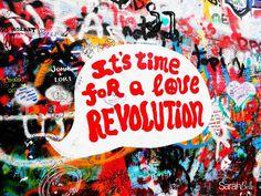 'love revolution' photograph placed on canvas. #graffiti