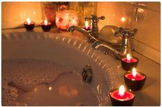 hot bath, candle light