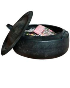 Recycled car tyre basket