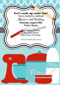 Custom Baking/Cooking Party Birthday Invitation by LBKInvites, $12.00
