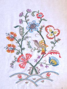 Vintage Crewel Embroidery Two Pictures Squirrel and by jazzjodi