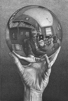 Modern Hands with Sphere - M. C. Escher
