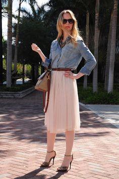 denim shirt and tulle midi skirt