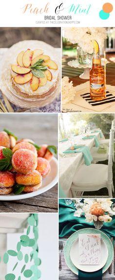 Peach & Mint Bridal Shower + Peach Cocktail | Kim Byers, TheCelebrationShoppe.com #bridalshower #keepitcolorful peach cocktail, peach mint, bridal showers peach, mint bridal