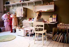 Desk + hooks + playroom.