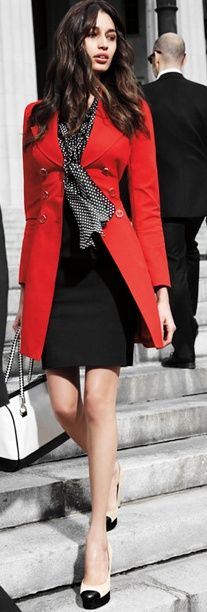 Black mix + perfect red jacket.