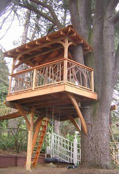 This treehouse is complete with rope bridge, tire swing, and climbing rope!  Perfect for the backyard.