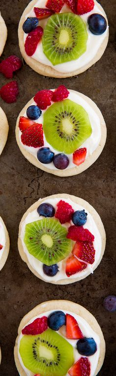 Mini Fruit Pizzas with Lemon Cream Cheese Frosting - These cookies are divine!!