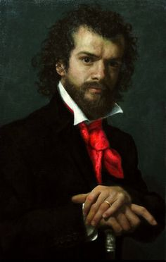 Cesar Santos-(b. 1982) Cuban-American, studied at Miami Dade College and the New World School of the Arts before travelling to Florence, where he trained at the Angel Academy of Art under the tutelage of Michael John Angel a student of Pietro Annigoni. He returned to Miami, where he developed his philosophy of marrying both the classical and the modern juxtaposed within one painting.