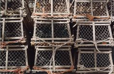 "Steve Mills ""Lobster Traps"" lobster trap, steve mill, oil painter, lobsters, linens"