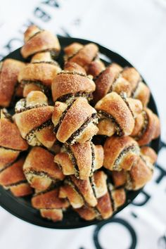... mini croissants with plums, wiskey and almonds ...