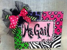 Funky Teacher Canvas Sign by LaurieColeDesigns on Etsy, $32.95