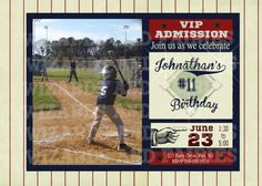 Vintage baseball invitation