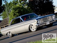 1964 Ford Falcon in silver, lowered