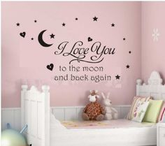 Newsee Decals I love you to moon Wall quote decal sticker kids nursery Room Art Decor (Black) - Childrens Wall Decor
