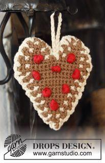"DROPS Christmas: Crochet DROPS heart in 2 strands ""Safran"" with edge in ""Paris"". ~ DROPS Design #christmas #ornament"