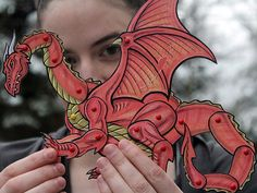 Dragon Paper Doll - Red Fantasy Dragon Articulated