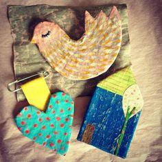 paper mache pins by HeartsandNeedles,